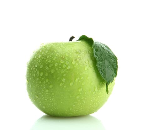 wet leaf: Ripe green apple with leaf isolated on white