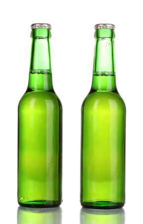 two bottles of beer isolated on white Stock Photo - 16342385
