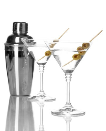 Martini glasses with olives and shaker isolated on white Stock Photo - 16342254