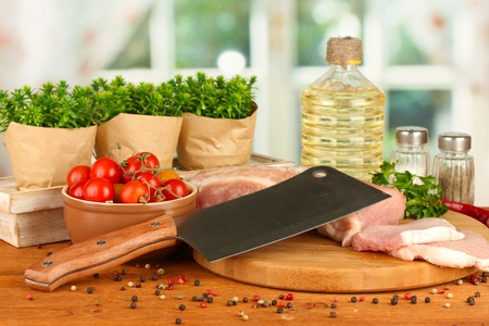 composition of raw meat, vegetables and spices on wooden table close-up Stock Photo - 16343001