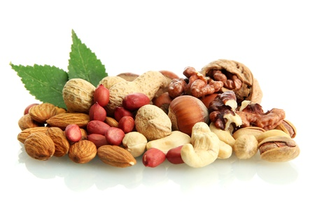 assortment of tasty nuts with leaves, isolated on white Stock Photo - 16342412