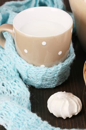 microelements: Pitcher and cup of milk with meringues on wooden table close-up Stock Photo