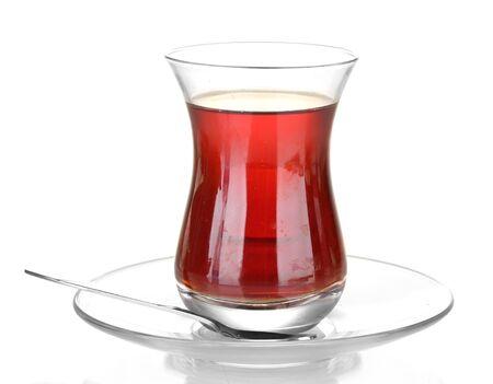 tea spoon: glass of Turkish tea isolated on white Stock Photo