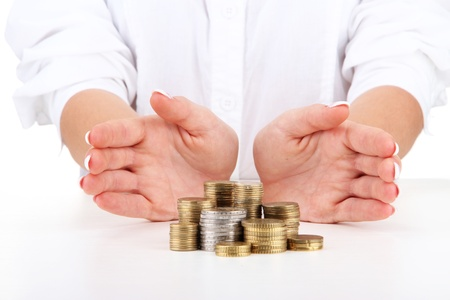 Woman hands with coins, close up Stock Photo - 16342535