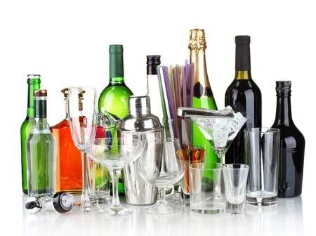 Collection of various glasses and drinks isolated on white Stock Photo