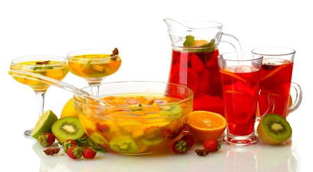 tasty sangria and punch with fruits, isolated on white photo