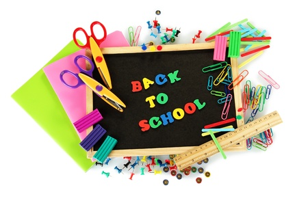 Small chalkboard with school supplies on white background. Back to School Stock Photo - 16412641