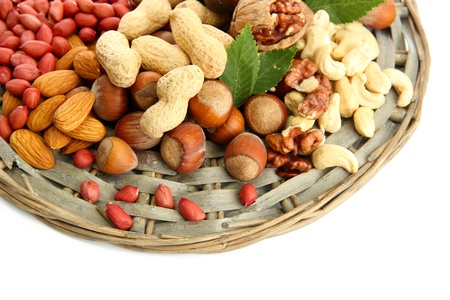 assortment of tasty nuts, isolated on white Stock Photo - 16413953