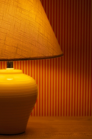 table lamp on wallpaper background  Stock Photo - 16414509