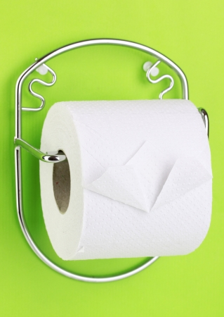 biodegradable material: Roll of toilet paper on  holder fixed to wall Stock Photo