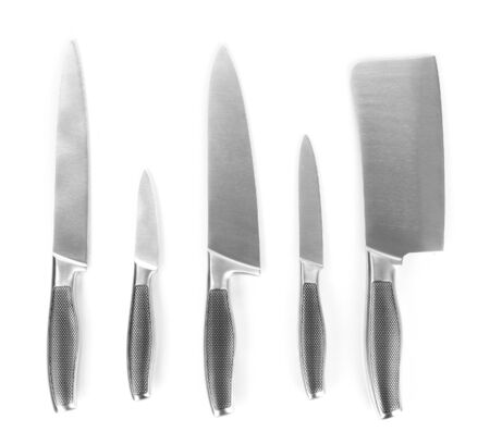 paring knife: Set of knives isolated on white