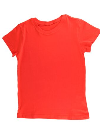 Red t-shirt isolated on white photo