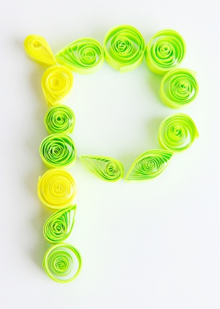 quilling: The letter P is made of quilling isolated on white