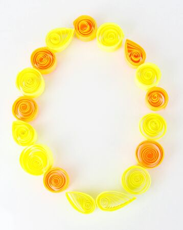 quilling: The digit 0 is made of quilling isolated on white