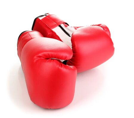 thai arts: Red boxing gloves isolated on white