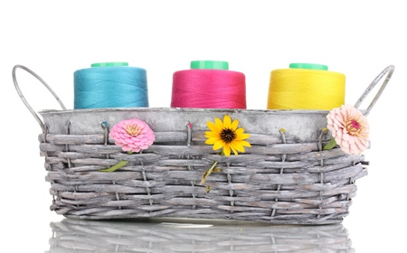 Bright threads in basket isolated on white photo