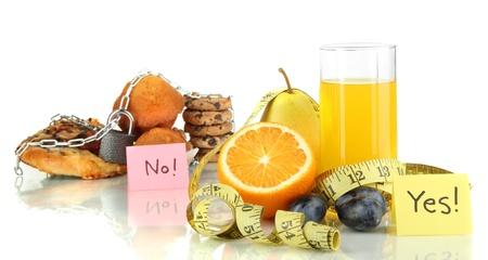Useful and harmful food isolated on white Stock Photo - 16490947