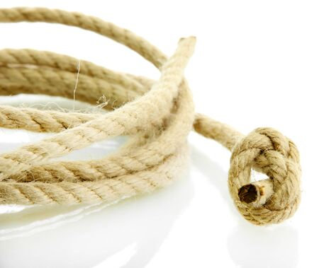 slipped: roll of rope with knot, isolated on white Stock Photo