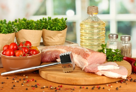 composition of raw meat, vegetables and spices on wooden table close-up Stock Photo - 16495789