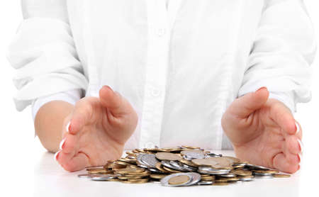 Woman hands with coins, close up Stock Photo - 16495422