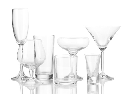 Collection of various glasses isolated on white Stock Photo - 16495296
