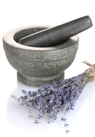 lavendin: Lavender flowers with mortar isolated on white Stock Photo
