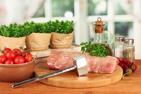composition of raw meat, vegetables and spices on wooden table close-up Stock Photo - 16595158
