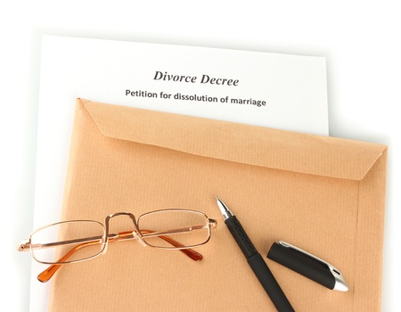 decree: Divorce decree and envelope on white background Stock Photo