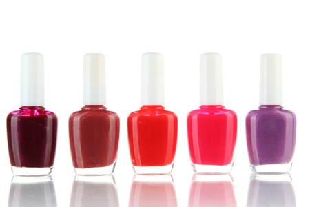corall: set of nail polishes isolated on white Stock Photo