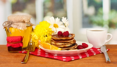 delicious sweet pancakes on bright background Stock Photo - 16592460