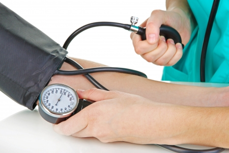 insurance consultant: Blood pressure measuring isolated on white