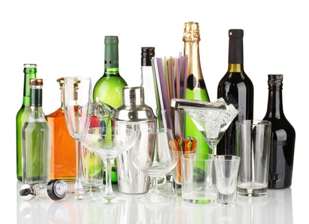 Collection of various glasses and drinks isolated on white Stock Photo - 16591939