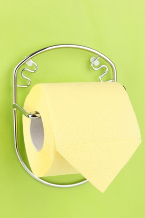 Roll of toilet paper on  holder fixed to wall photo