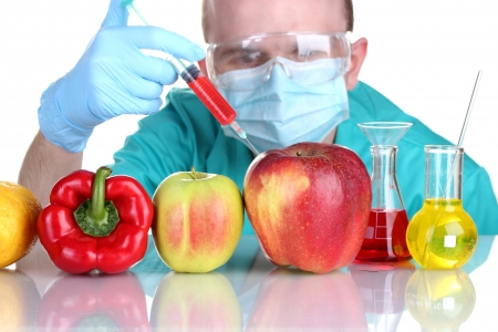 Scientist injecting GMO into the vegetables Stock Photo - 17185794
