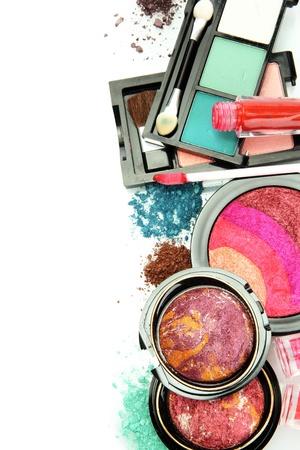 face make up: beautiful decorative cosmetics, isolated on white Stock Photo