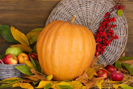 Excellent autumn still life with pumpkin on wooden table on wooden background photo