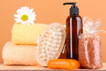 Set for care of a body on peach background Stock Photo - 16588842