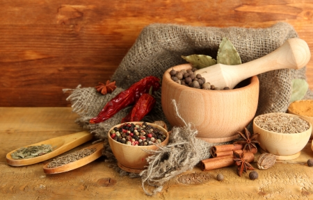mortar: mortar, bowls and spoons with spices, on wooden background