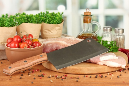 composition of raw meat, vegetables and spices on wooden table close-up Stock Photo - 16590645
