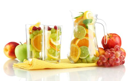 transparent jar and glasses with citrus fruits, isolated on white Stock Photo - 16590749