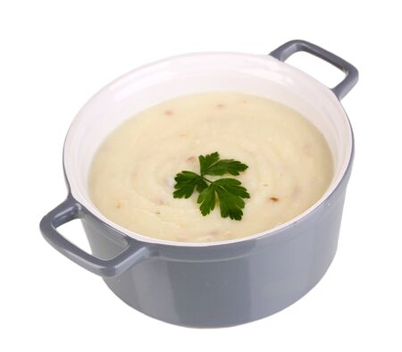 nutritiously: Mashed potatoes in saucepan isolated on white Stock Photo
