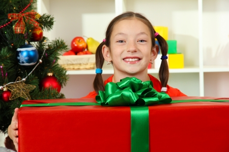 Little girl with large gift box near christmas tree Stock Photo - 17129847