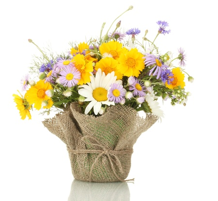 mixed flower bouquet: beautiful bouquet of bright  wildflowers in flowerpot, isolated on white Stock Photo