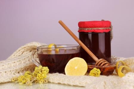 укрепление: Здоровые ингредиенты для укрепления иммунитета на теплый шарф на фиолетовом фоне
