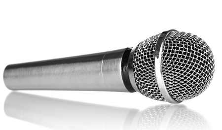 electronic voting: Silver microphone isolated on white