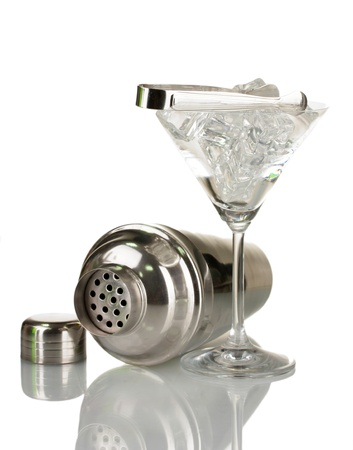 Cocktail shaker and cocktail glass isolated on white Stock Photo - 16620104