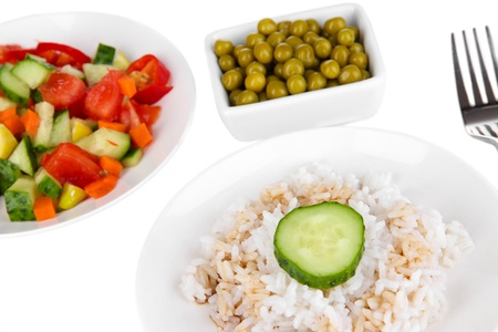 Healthy food on plate isolated on white Stock Photo - 16620298