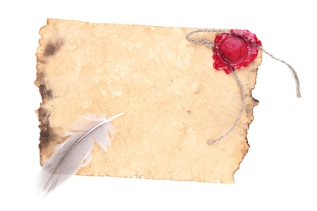 signet: Old paper isolated on white