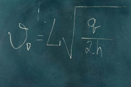 Physics formula written on blackboard with chalk. photo