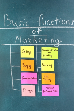 Scheme of basic functions of marketing. Colorful sticky papers on board Stock Photo - 16620850